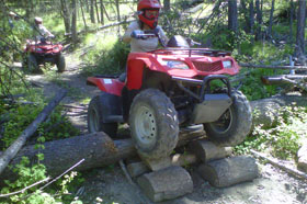 ATV closeup over logs